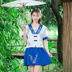 Ebbie - Embroidered Short Sleeve Traditional Chinese Costume