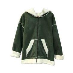 EKOOL - Faux-Suede Hooded Coat