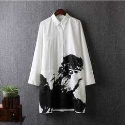 Blue Rose - Printed Linen Long Shirt