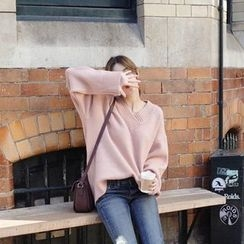 mimi&didi - V-Neck Loose-Fit Knit Top
