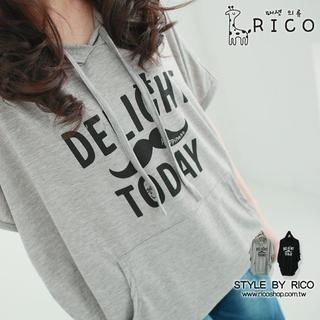 rico - Loose-Fit Moustache-Print Hooded Top