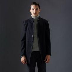Bingham - Funnel Collar Wool Blend Coat