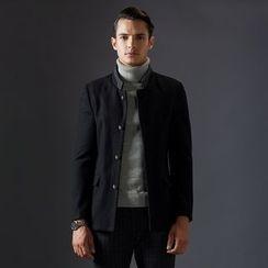 Bingham - Stand Collar Wool Blend Coat