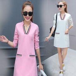 Ashlee - Stripe Trim V-Neck Shift Dress