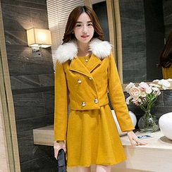 Lovebirds - Set: Sleeveless Plain A-Line Dress + Double-Breasted Furry-Collar Cropped Jacket