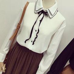 Honeydew - Double Layer Collar Chiffon Shirt