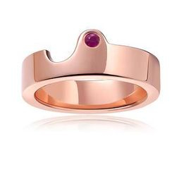 MBLife.com - Left Right Accessory - 925 Silver Plated Red Color Pink Sapphire Couple Ring (Female)