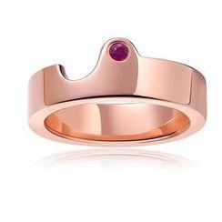 MBLife.com - Left Right Accessory - 925 純銀鍍紅色鑲嵌圓形粉紅色藍寶石情侶戒指 (女裝)