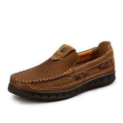 Van Camel - Perforated Genuine Leather Slip-Ons