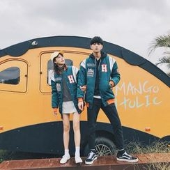 Simpair - Couple Matching Patch Embroidered Long Baseball Jacket