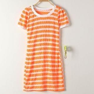 JVL - Short-Sleeve Striped Dress with Belt
