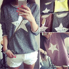 QZ Lady - Star Print Long-Sleeve Mélange Top
