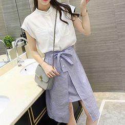 Ashlee - Set: Band Collar Short-Sleeve Shirt + Stripe Slit Midi Skirt