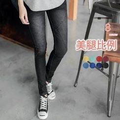 OrangeBear - 立体剪裁刷白丹宁窄管裤