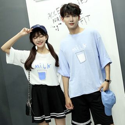 Lovebirds - Couple Short-Sleeve Printed Loose-Fit T-Shirt