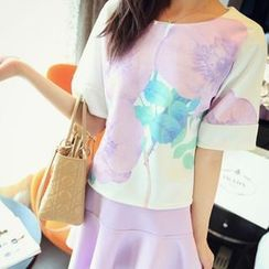 QZ Lady - Set: Elbow-Sleeve Printed Top + A-Line Skirt