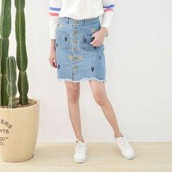 Storyland - Embroidery Denim Pencil Skirt