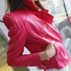 REDOPIN - Faux-Leather Sharp-Shoulder Jacket