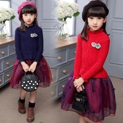 Pegasus - Kids Frill Trim Long-Sleeve Tulle Dress