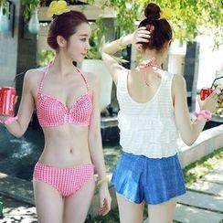Little Dolphin - Set: Gingham Bikini + Number Tank Top + Shorts