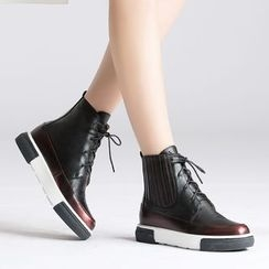 JY Shoes - Metallic Panel Lace Up Ankle Boots