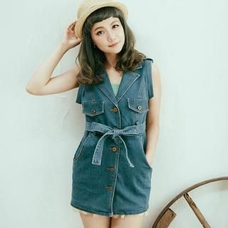 CatWorld - Tie-Waist Denim Vest