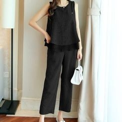 Cobogarden - Set: Pinstriped Tank Top + Cropped Straight Cut Pants