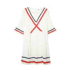 Flore - Elbow-Sleeve Striped Dress