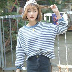 Clair Fashion - 韩版学院风条纹宽松上衣