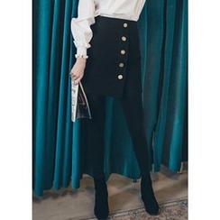 Chlo.D.Manon - Metal-Button Asymmetric Mini Skirt