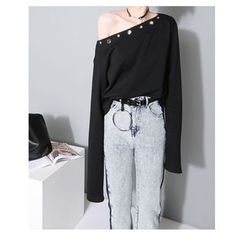 HOTCAKE - Extra Long-Sleeve Off Shoulder T-Shirt