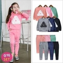 URAVI - Kids Set: Lettering Brushed-Fleece Lined Sweatshirt + Sweatpants