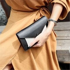 JVLLY - Two-Tone Flap Clutch with Strap