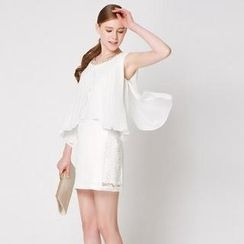 O.SA - Sleeveless Pleated-Overlay Dress