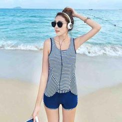Rachel Swimwear - Set: Asymmetric-Hem Stripe Tankini + Shorts