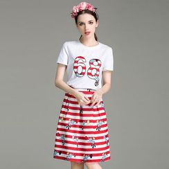 Cherry Dress - Set: Stripe Number Short-Sleeve Top + Skirt