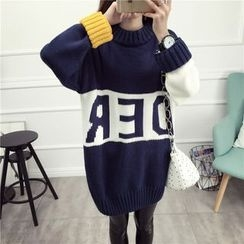 Loytio - Lettering Color Block Long Sweater