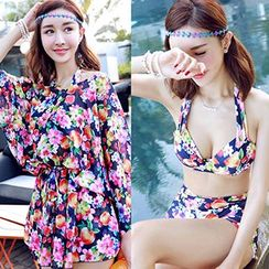 Little Dolphin - Set: Floral Bikini + Long-Sleeve Cover