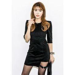 INSTYLEFIT - Elbow-Sleeve Buckled Velvet Mini Dress