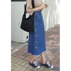 BBORAM - Fray-Hem Buttoned Denim Long Skirt