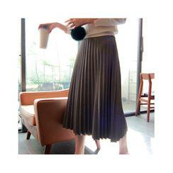 LEELIN - Faux-Leather Pleated Maxi Skirt