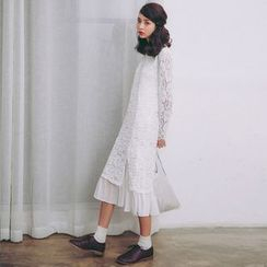 SUYISODA - Long-Sleeve Lace Midi Dress