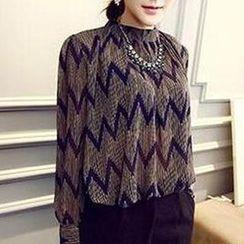 Maruko - Wave Print Chiffon Blouse