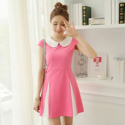 YUMU - Contrast Trim Peter Pan Collar Short Sleeve Dress