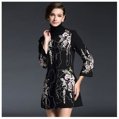 Elabo - Flower Embroidered Long Jacket