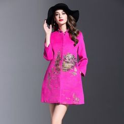 Elabo - Embroidered Stand Collar Coat