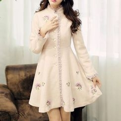 MUSI - Embroidered Lace Trim Knit Coatdress