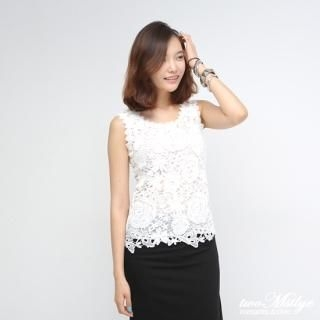 twoMstyle - Flower Lace Sleeveless Top