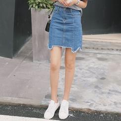 Forest Girl - Asymmetric Hem Mini Denim Skirt