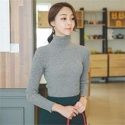 ode' - Turtle-Neck Rib-Knit Top